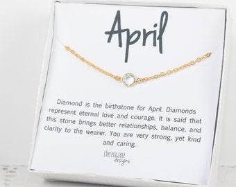 April Birthstone Swarovski Necklace, April Birthstone Gold Necklace, Swarovski Gold Necklace, Clear Gold Necklace, Birthstone Jewelry