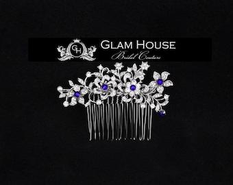 Bridal hair comb,wedding hair comb,bridal headpiece,something blue,wedding,bridal comb,bridal hair piece,crystal hair comb,flower hair comb