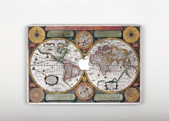 World map macbook pro decal mac book 12 inch skin macbook pro like this item gumiabroncs Images