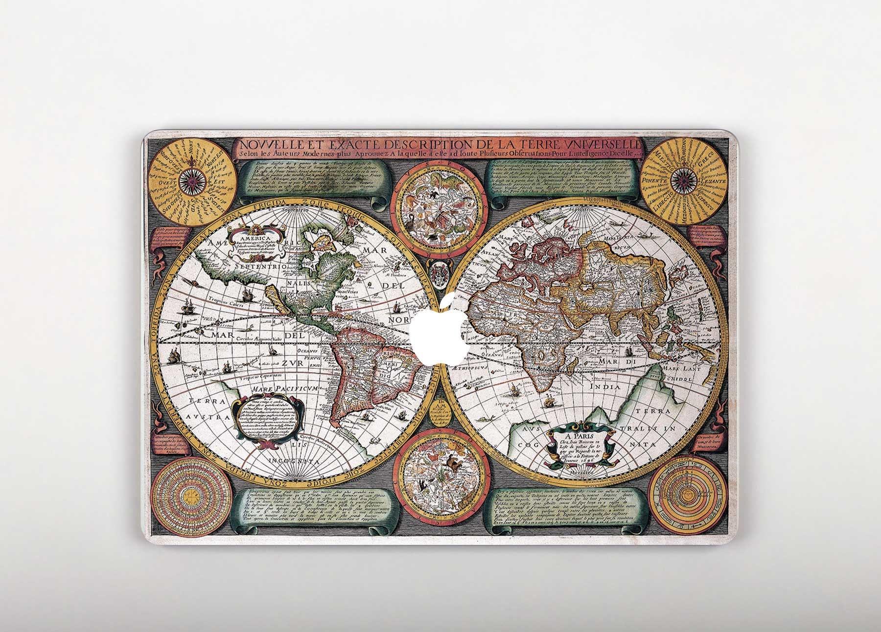 World map macbook pro decal mac book 12 inch skin macbook pro ampliar gumiabroncs Choice Image