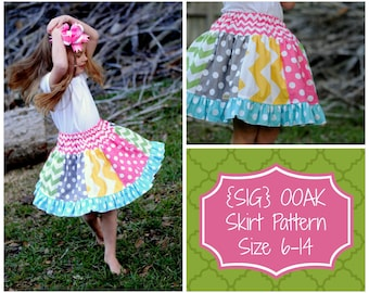 INSTANT Download SIG OOAK (one-of-a-kind) Skirt Pattern for Youth/Tween - Size 6 Youth Tween to Size 14 Youth Tween Teen