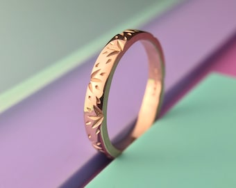 Sprig Stacking Ring - Solid 9ct Rose Gold - Lost wax casting Carved stacking ring