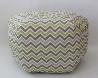 Green and Grey Chevron pouf / Bohemian / Moroccan Pillow / Floor Cushion / Large Pouf