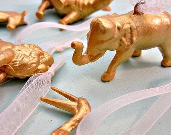 Ornaments, Gold Shatterproof Plastic Miniature Jungle Animal Ornaments, Set of 8