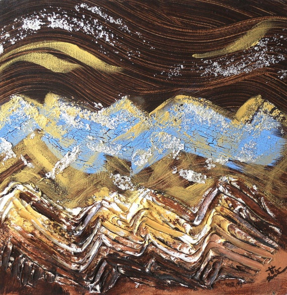 "abstract landscape painting, mica flakes, white flakes, brown abstract art, nature painting, zen art - Blue Mountain 12""x12"" Yin Lum YINART"