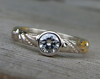 Delicate Moissanite and Recycled 14k White Gold Ring, Made To Order - Eco-Friendly, Diamond Alternative, Scroll Patterned Band