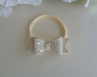 Baby Glitter Hair Bow/Band, Baby Hair Accessory, Baby Gift, Cream Hair Bow, Glitter Hair Accessory, Baby Photo Accessory