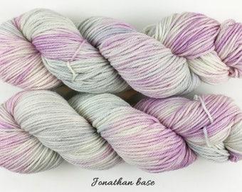 Draft No. 18 - pale pastel purple gray blue hand dyed yarn - superwash merino worsted weight - 100 grams, 218 yards - OOAK