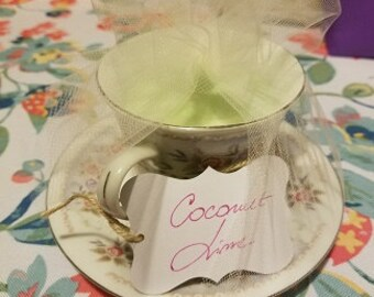Porcelain, bone china teacup candles made out of organic soy wax.