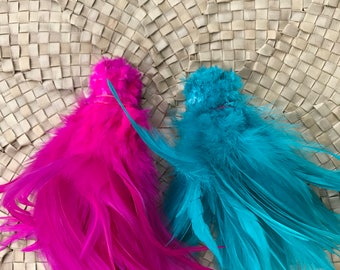 Very Long saddle feathers- Bright pink or aqua 6-7 inches in length- rooster feathers, Tahitian costume,