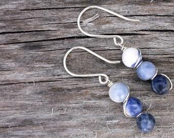 Bead Bar Sterling Silver Sodalite Earrings