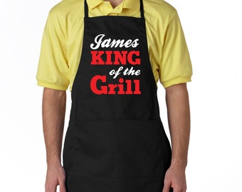 Personalized mens apron, King of the grill apron, bbq apron, personalized gift for men, Fathers day gift