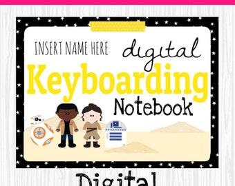 Instant Download, Interactive Keyboarding Notebooks, keyboarding notebook, star wars inspired, keyboarding drills, bb8, star wars,