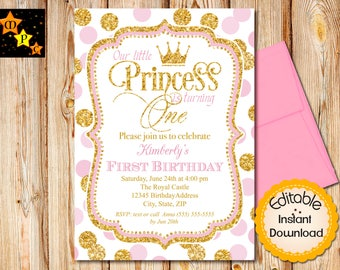 "Pink and Gold First Birthday Invitation, Princess, Girl, Glitter, Instant Download, Editable, Adobe Reader, Printable, 5""x7"""