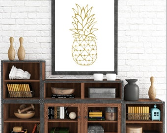 Gold Pineapple, Pineapple Wall Print, Yellow Wall Prints, Pineapple Wall Art, Printable Art, Yellow Home Decor, Digital Download, Printable