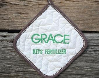 Vintage Pot Holder,Grace Key Fertilizer, Farm ad, brown pot holder, farm potholder, feed and grain