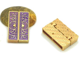 Purple magnetic clasp to cuff 32 x 22 x 8 mm gold