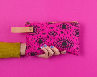 Pouch #1  | Canvas Leather Zippered Pouch, Wallet, Carryall, Colorful, Hand Printed, Pattern, Unique, Fuchsia, Black, Eyes
