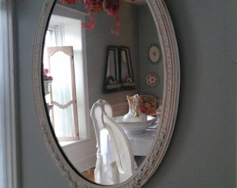Vintage shabby chic oval mirror