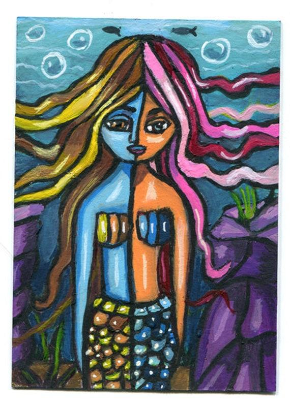 mermaid aceo atc art abstract original painting fish fantasy miniature paintings Elizavella