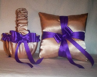 Champagne Satin With Purple Trim Flower Girl Basket And Ring Bearer Pillow