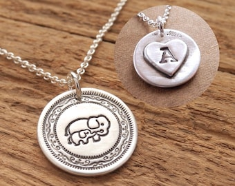 Personalized Mini Mother and Baby Elephant Necklace, New Mom Necklace, Heart Monogram, Fine Silver, Sterling Silver Chain, Made To Order
