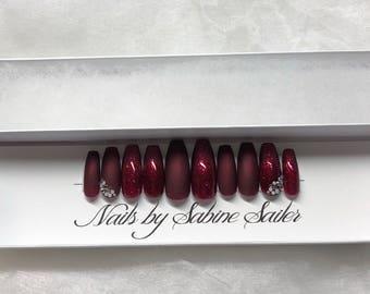 Black Cherry Red Glitter and Swarovski artificial nails •press on Nails