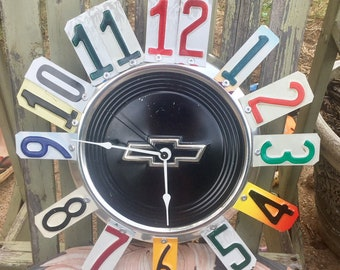 Hubcap Clock, Chevy Clock, Fathers Day Gift, Man Cave Decor, Shop Clock, Gifts for him, Dad Gift, Classic Cars, Clocks, Home Decor