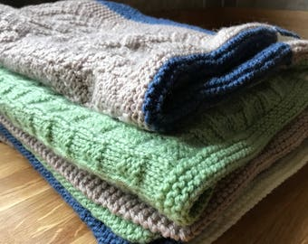 Hand-knitted Wool Throw/Blanket