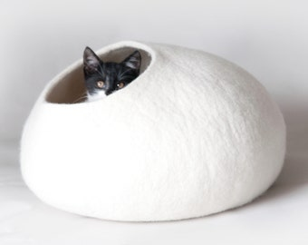Felt Cat Bed / Felt Cat Cave / Cat House / Vessel / Furniture - Hand Felted Wool - White Stone Bubble Cocoon - Contemporary Modern Design