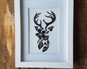 Reindeer lino print