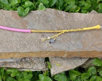 Yellow and pink pomegranate wood wand