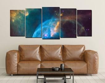 Nebula Galaxy Canvas Wall Art, Cosmos Universe Print, Crab, Large 5 Panel, Home Wall Decor