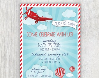 Printable invitation - Vintage airplane and hot air balloon party - Child's party - First birthday - Baby shower - Customizable