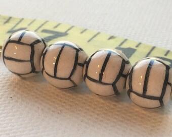 Peruvian Ceramic Soccer Ball Beads, Small (set of 4)