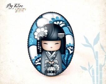 Ring Cabochon • • White Navy blue flower glass kawaii Kokeshi