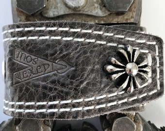 "Vexed Soul ""Holeyer Than Thou"" Premium Quality Top Grain Grey Leather Bracelet, 8.5"" …"