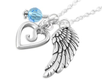 Remembrance Necklace. Memorial Jewelry. Personalize. birthstone sympathy gift. infant loss. Sterling silver. initial, angel wing, SEREPHINE