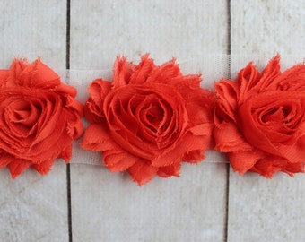 1/2 Yard Shabby Chiffon Flower Trim in Dark Orange - Flower Trim for Headbands and DIY supplies