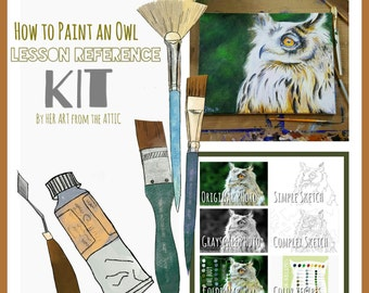How to Paint an Owl - Lesson Reference Kit - by Her Art from the Attic