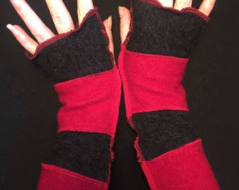 Upcycled Red Black Merino Wool Fingerless Gloves Arm Warmers Armwarmers Recycled Sweater Wristwarmers Repurposed