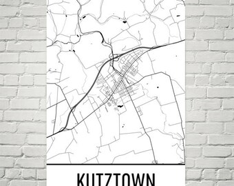 Kutztown Map, Kutztown Art, Kutztown Print, Kutztown PA Poster, Kutztown Wall Art, Gifts, Map of Pennsylvania, Pennsylvania Poster, Decor