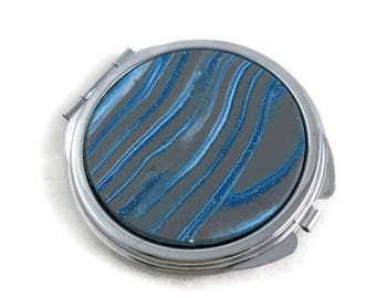 Blue and gray striped compact mirror polymer clay