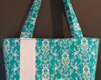 Flower Power, Womens accessories, shoulder bags, purses, teal, flower, handbags, purses and handbags, tote, everday purse, zippered purse