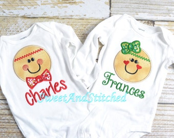 Coordinating Boy and Girl Gingerbread Christmas Shirts, Twin Christmas shirts, Twin Christmas outfits - Gingerbread Christmas Personalized