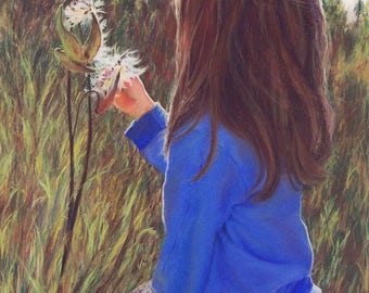 Original painting, Girl, Nature, Country, Milkweed, Original, Painting, Children, Farm