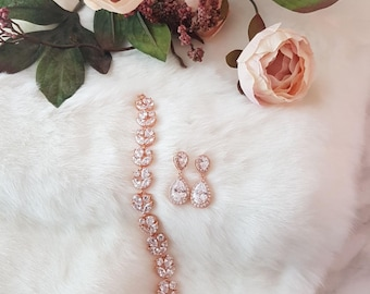 Rose Gold Earrings and Bracelet Set