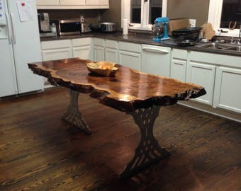 Live edge table live edge dining table by urbanwoodllc on etsy for Live edge kitchen island