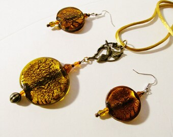 Big/Glass/EARRING/PENDANT/NECKLACE/ Round/Brown/Gold/Dichroic/Jewelry/Set/ Exotic/Figural/Brass/Hummingbird/ Gift/For/Her/Ladies/Woman/Wife