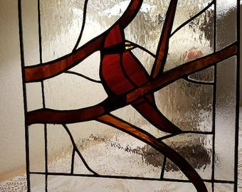 Cardinal on a Branch in Stained Glass